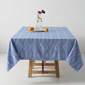 Anthropologie Florita Jacquard Tablecloth Blue